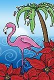 Toland Home Garden Fa-La-La-La-Mingo 28 x 40 Inch Decorative Tropical Christmas Palm Tree Flamingo House Flag