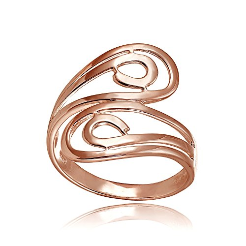 Open Swirl Ring (Rose Gold Flashed Sterling Silver High Polished Open Wrap Swirl Fashion Ring, Size 9)