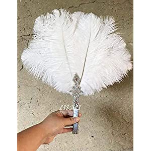 LISALI Bride Ostrich Feather Bouquet, Feather Fan, Bridesmaid Peacock Handfasting, 20s Gatsby Vintage Wedding Bouquet 81