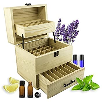 SXC Essential Oil Wooden Box Multi Tray Organizer, 3 Tiers Storage Case  Protects 45