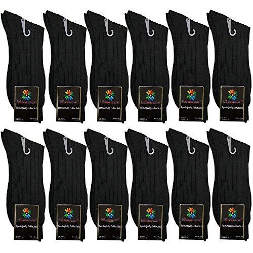 - USBingoshopTM Mens Cotton Dress Socks, Black, 10-13 (Pack of 12)