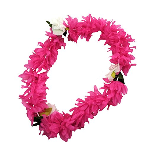 HOT PINK Hawaiian Lei Polynesian Faux Hybiscus Flower Necklace -