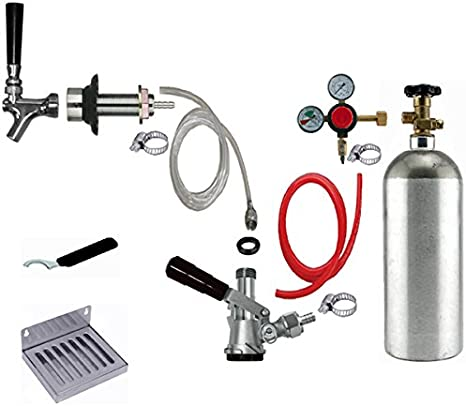 Without CO2 Tank Bev Rite CRCK102 Premium Refrigerator Conversion Kit Door Mount Keg Tap Beer Double Line Clear