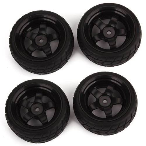 DN Black RC 1: 10 Flat Car 12mm Hub Wheel Rims 5 Spoke + Squ