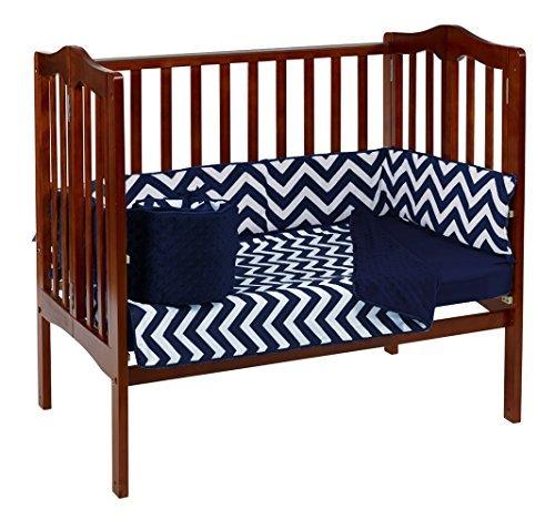 Baby Doll Bedding Minky Chevron Mini Crib/Port-A-Crib Bedding Set, Navy [並行輸入品]   B077ZTJ7MR