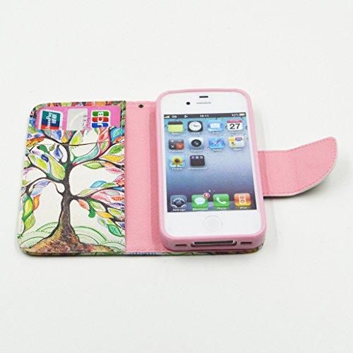 iPhone 4 4s Case, Yaobai flip en cuir PU Wallet Card *** Magnetic PU cuir Wallet *** stand Case titulaire de la carte Shell cute adorable [animal] flip PU Housse en cuir Housse Wallet Card avec plusie
