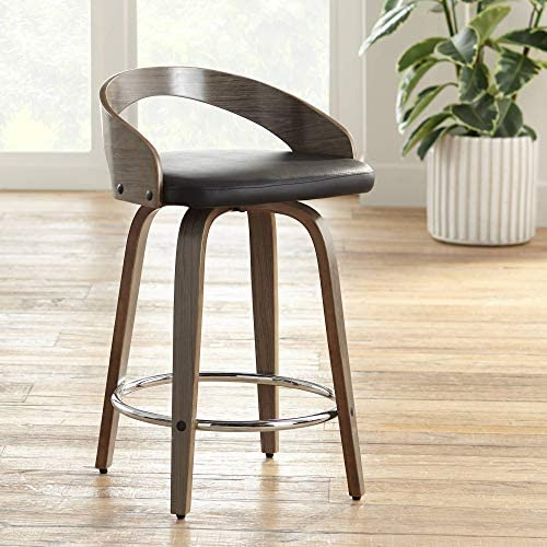 Gratto 24 Black Faux Leather Gray Wood Swivel Counter Stool
