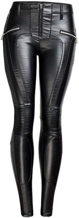 BGGYF Moto Jeans Pantalones de Cuero con Cremallera Apertura Wome's Pantalones de lápiz Sexy Pantalones para Mujeres Off-Road Pantalones Ajustados al Aire Libre
