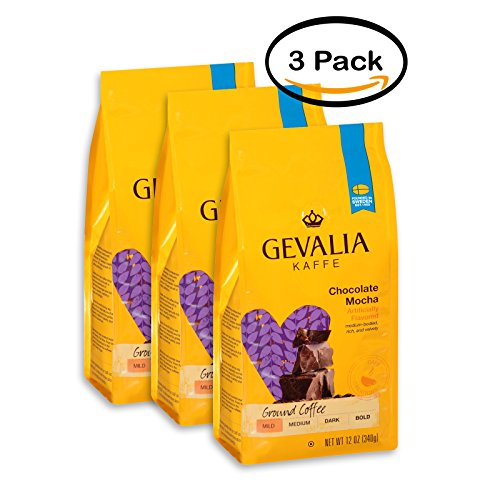 PACK OF 3 - Gevalia Kaffe Chocolate Mocha Mild Roast Ground Coffee, 12 oz (340g) ()