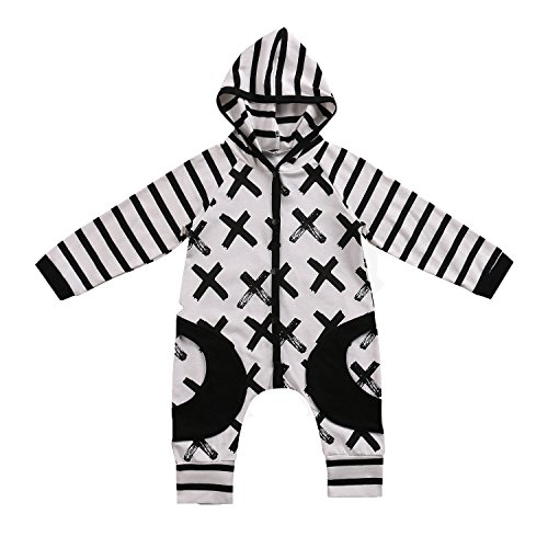 Baby Boys Girls Jumpsuit Hoodie Romper Outfit Long Sleeve Striped Cross Creepers Bodysuit Clothes (100 (18-24M), (Creeper Costume For Girls)
