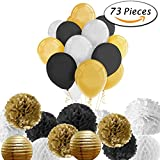 Paxcoo 73 Pcs Black and Gold Party Decorations with Balloons Paper Lanterns and Paper Pom Poms for Happy New Year Party New Year's Eve Party 20st, 30th, 40th, 50th, 60th, 70th,75th, 80th Birthday