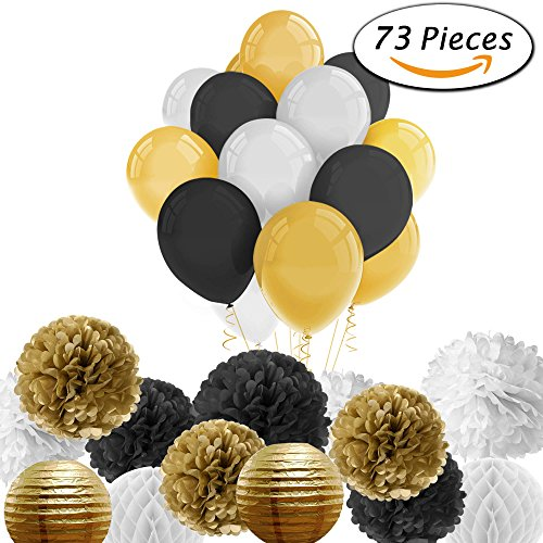 Paxcoo 73 Pcs Black and Gold Party Decorations with Balloons Paper Lanterns and Paper Pom Poms for Happy New Year Party New Year's Eve Party 20st, 30th, 40th, 50th, 60th, 70th,75th, 80th (Happy New Year Centerpiece)