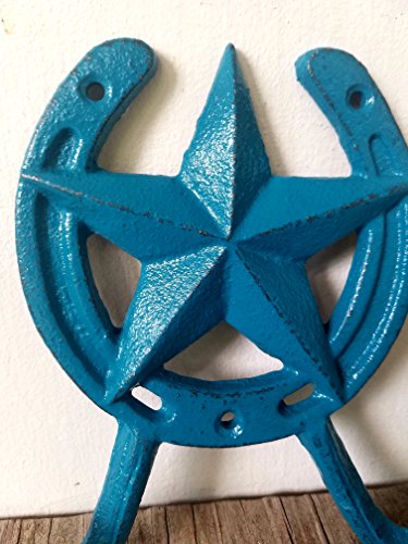 TEAL BLUE GREEN STAR AND HORSESHOE DOUBLE HOOK – WESTERN HOME DECOR – DECORATIVE AND FUNCTIONAL (Hook Functional)