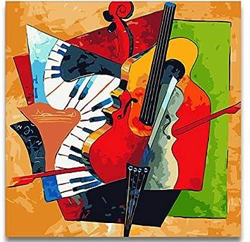 Lishihaozy Pintura Por Números Cuadro De Guitarra Abstracto Diy Pintura Al Óleo Por Números Dibuja Arte Violín Con Kits En Lienzo Con Una Decoración De ...