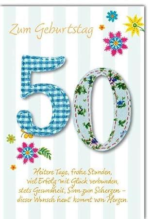 Karte Geburtstag Zahl 50 Zahlen Blumen Spruch Liefermenge 5