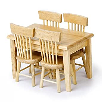 Sungpunet 5pcs Wooden Dining Table Chair Model Dollhouse Miniature Furniture, Wooden