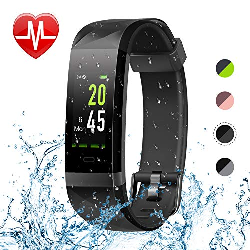 Letsfit Fitness Tracker Color Screen HR, Heart Rate Monitor Watch, IP68 Waterproof Activity Tracker, Step Counter, Bluetooth Sleep Monitor, 14 Sport Modes, Pedometer Watch for Men Women ()