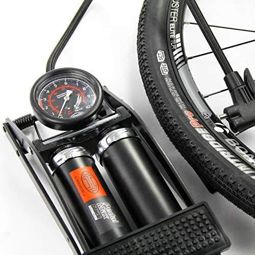 HEYNER premium foot pump 7BAR 100PSI for car bike tyre Presta Shrader BLACK
