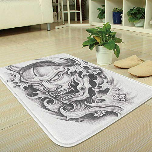 YOLIYANA Short Fur Floor Mat,Kabuki Mask Decoration,for Home Meeting Room,35.43