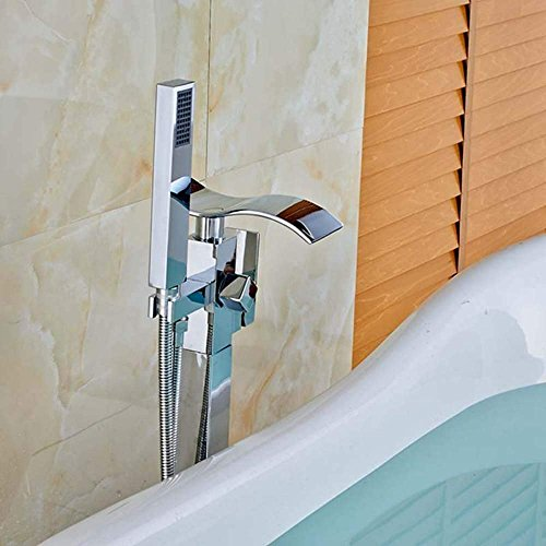 Whgz Floor Mounted Waterfall Spout Tub Shower Faucet Free Standing Bathtub Filler 1 Handle with Handheld Spray Head,Chrome Polished (Polished Brass Use Pvd Faucets)