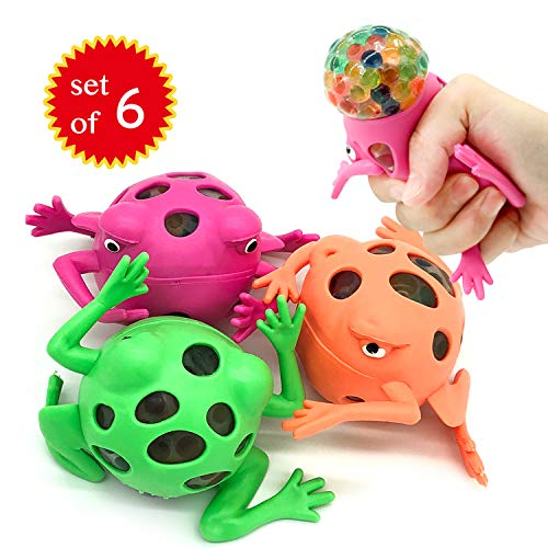 (EUYZOU Anti Stress Squishy Multicolored Hand Exercise DNA Ball, Slime Prime Toys for Kids, Animal Stress Ball, ADHD Fidget Toys, The Shape of Frog Set of 6)