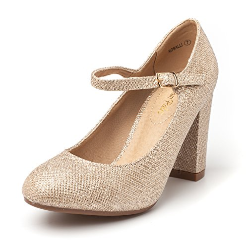 DREAM PAIRS Women's ROSALLI Gold Glitter High Chunky Heel Pump Shoes - 6.5 B(M) US