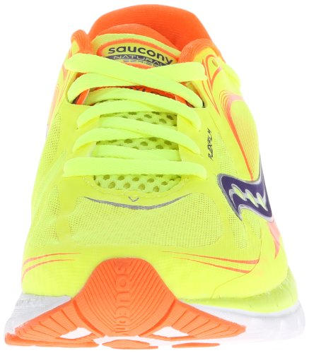 Saucony Women's Kinvara 5 Running Shoe,Citron/Viziorange/Purple,5 M US