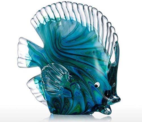 Estatuas Decorativas de vidrio azul peces tropicales decoración del hogar arte 2