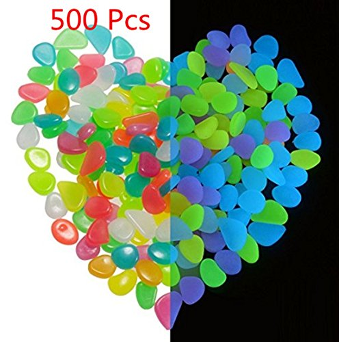 ASIBT 500 Pcs Glow in the Dark Stones,Garden Pebbles Rocks for Outdoor, Walkway, Window, Yard Grass, and Fish Tank Decoration (Multi Color)