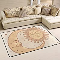 LAVOVO Celestial Sun And Moon Star Pattern Area Rug Rugs Non-Slip Floor Mat Doormats for Living Room Bedroom 72 x 48 inches