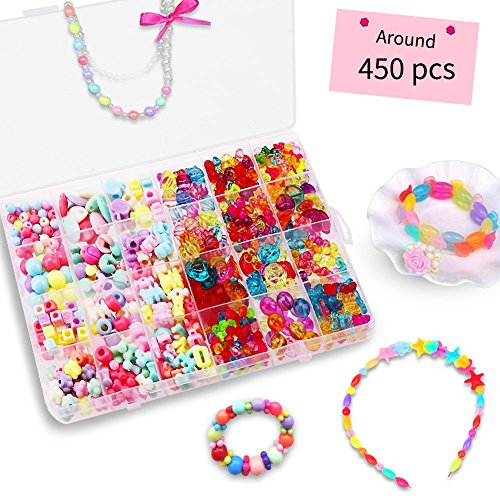 Bead KidsSet for Jewelery Making - Craft Beads Kits for Little Girls DIY Necklaces Bracelet Children Games Colorful Acrylic Handmade Beaded Set Accessories Gift for Kids(color4),HUATK by HUATK