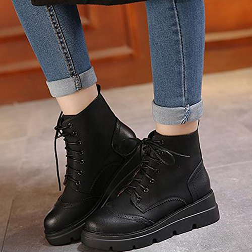 GIY Womens Low Platform Brogue Short Boots Lace Up Waterproof Non Slip Ankle Booties Black CGJxzmNt