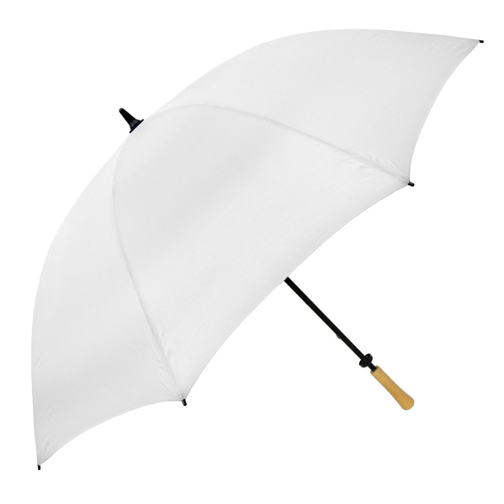 Strombergbrand The Hole In One Golf Umbrella; Lightweight Manual Open Umbrella; Large Full Size Umbrella with Wood Handle For Men and Women, White