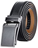 Marino Avenue Men's Genuine Leather Ratchet Dress Belt with Linxx Buckle, Enclosed in an Elegant Gift Box - Black Leather Square Buckle W/Black Design Leather - Adjustable from 28'' to 44'' Waist