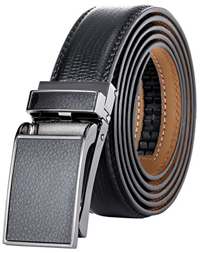 (Marino Avenue Men's Genuine Leather Ratchet Dress Belt with Linxx Buckle - Gift Box (Black Leather Square Buckle W/Black Design Leather, Adjustable from 38