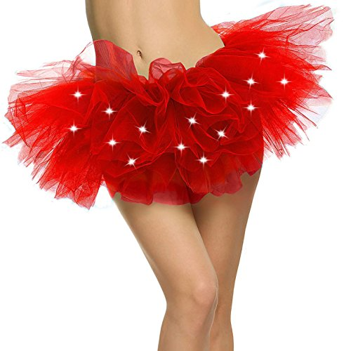 (Red Tutu Women's LED Light Up Neon Tulle Glow Night 5K Run Tutu Skirt, Red)