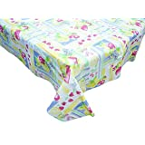 """Waterproof Spill Proof Vinyl Printed Tablecloth with Flannel Backing, 52x90"""", Perfect for Summer, Fall, Indoor, Outdoor Picnics & Potlucks Party or Everyday Use-Fruits"""