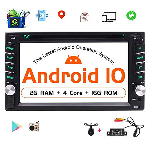 Android 10.0 OS Car Stereo Car DVD CD Player Double Din Head Unit GPS Navigation 6.2 inch Car Radio Bluetooth WiFi Mirrorlink Support 1080P Video USB SD OBD2/Subwoofer/DAB/DAB+/4G Free Dual Cameras