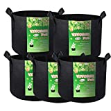 VIVOSUN 5-Pack 5 Gallons Heavy Duty Thickened Nonwoven Fabric Pots Grow Bags with Handles