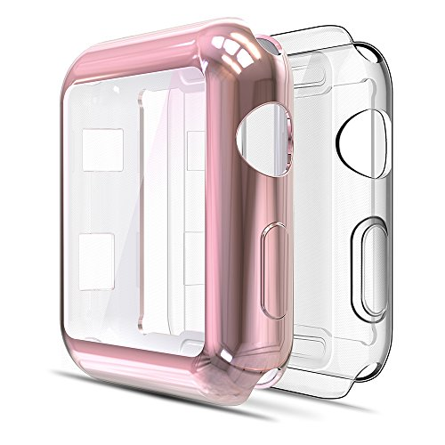 Bumper Screen - 2-Pack Simpeak Compatible Apple Watch Screen Protector Case 38mm, [All-Around] Soft Screen Protector Bumper Cover for 38mm Apple Watch Series 2/Series 3, Clear+Rose Gold