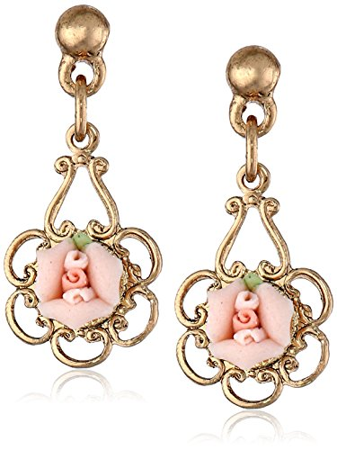 1928 Jewelry Porcelain Rose Gold and Pink Drop (Pink Gold Jewelry)