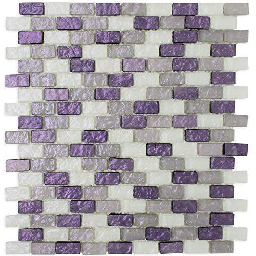 (TPRNG-01 Small Brick Pearl Look Purple Glass Mosaic Tile Backsplash (Sample Swatch))