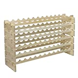 LEMY Solid Wood Wine Rack Stackable Modular Storage Stand Wooden Wine Holder Display Shelves(Wobble-Free,6x12 Row) (72 bottles)