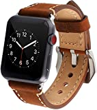 Apple Watch Band, 42mm Premium Vintage Genuine Leather Replacement Watchbands with Stainless Metal Slive Clasp for Apple Watch Series 3/2/1 Sport and Edition(Dark Brown)