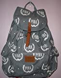 Victoria's Secret Pink Backpack Gray White logo + Free Eyeshadow Makeup, Bags Central