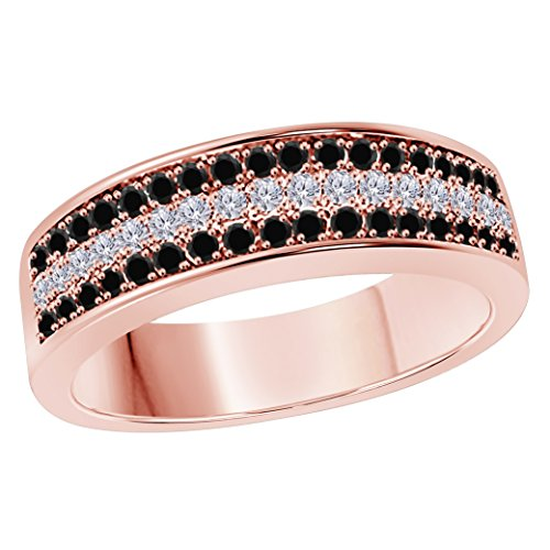 6MM 14K Rose Gold Finish .925 Silver Plated 0.50CT Black Sapphire & White Cz Diamond Ring 3 Row Pave Half Eternity Men's Wedding Band Ring Size All Available by Star Retail