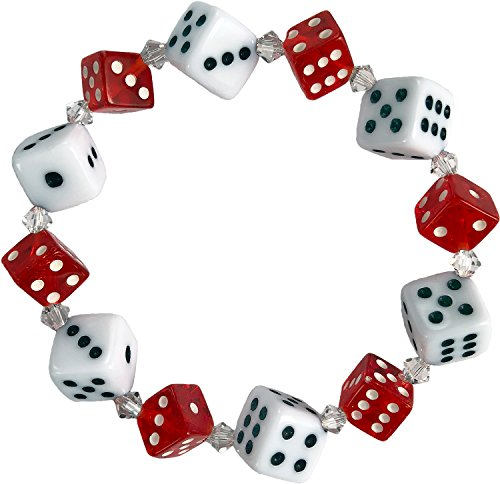 Curious Designs Bracelet, Elastic Stretch Style - White and Red Dice, Crystal Accents