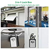 Key Lock Box with 4 Digit Combination, Lock Box for House Key, Wall Mounted Weatherproof Resettable Combination Padlock