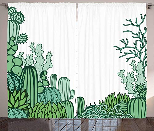 - HarMQ Cactus Decor Shower Curtain Arizona Desert Themed Doodle Cactus Staghorn Buckhorn Ocotillo Living Room Bedroom Window Drapes Set Green Light Green Seafoam 54
