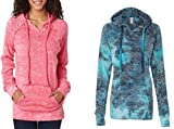 Weatherproof Ladies Burnout Hooded Pullover Fleece Burnout Hoodies Colorful Hoodies LARGE CORAL-BAHAMA